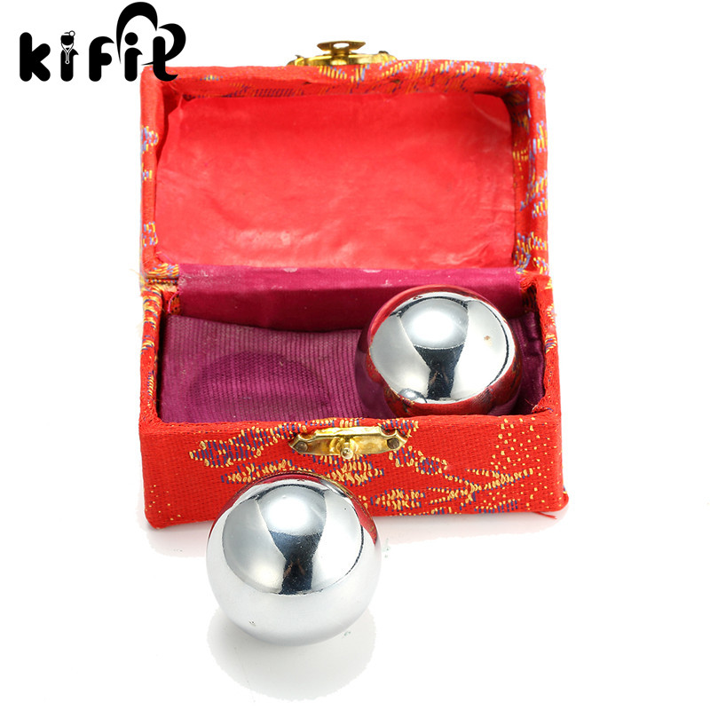 KIFIT Praktisk 2 Kinesiska Baoding Balls Fitness Handboll Hälsa Motion Stress Relaxation Therapy Chrome Hand Massage Ball 38mm