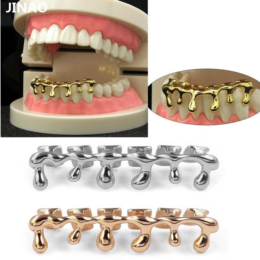 JINAO New Custom Fit Gold Color Rose Plated Hip Hop Teeth Drip Grillz Caps Lower Bottom Grill Silver Grills