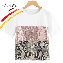 ArtSu Zomer Korte Mouw Vrouwen Wit Crop Top T-shirt Mode Patchwork Lovertjes Tops Meisjes Black Snake Print Shirts Tees 2019(China)