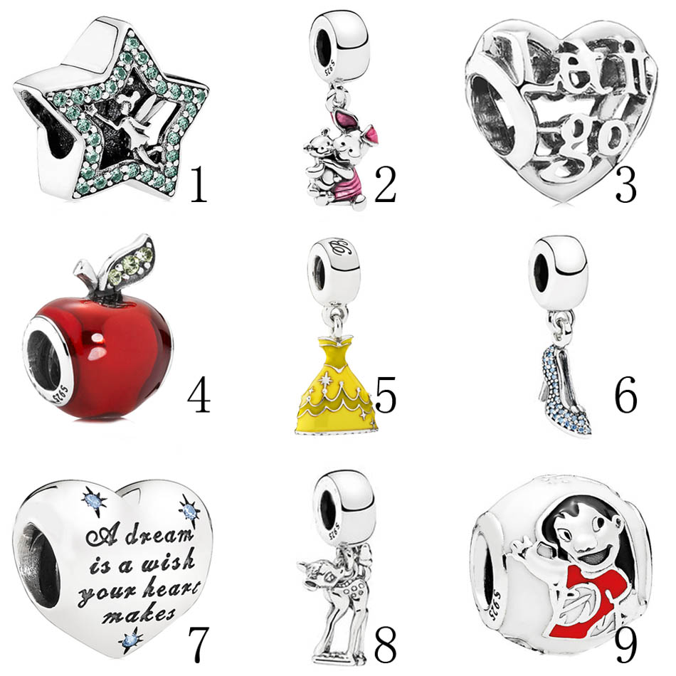 925 Silver Beads Fit Pandora Bracelet Bangle Tinker Bell Star Charm Lilo & Stitch Cinder ...