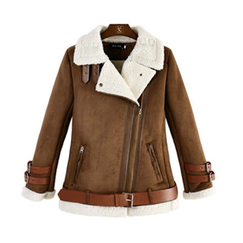 4XL Plus size faux suede leather warm jacket coat Women winter fur bomber jacket 2018 Winter Fashion female coats outwear