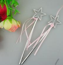 Fairy Princess Ribbon Star Wand Children Wands Stickers Toy Party Bag Filler Birthday girl gift Cosplay Angel props Silver Pink