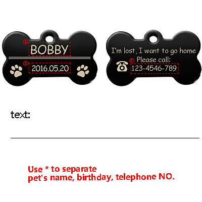 Personalized Dog Tags Engraved Cat Puppy Pet ID Name Collar Tag Pendant Pet Accessories Bone/Paw Glitter 17