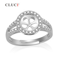 CLUCI Shining Round Shape 925 Sterling Silver Adjustable Pearls Rings Accessories Mounting For DIY Fit For