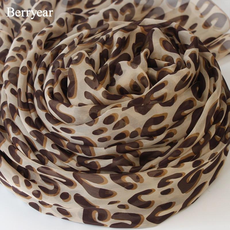 Berryear leopards drukāt šalli greznu zīmolu sievietēm zīda - Apģērba piederumi