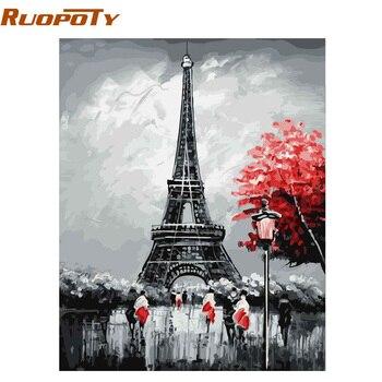מסגרת RUOPOTY פריז ציור קליגרפיה ציור DIY על ידי מספרי נוף ציור שמן שצויר ביד אמנות קיר לבית מודרני