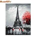 RUOPOTY рамка Париж DIY живопись по номерам пейзаж каллиграфия живопись Современная Настенная живопись ручная роспись маслом для дома - фото