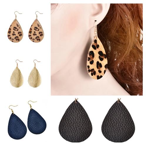 Good quality Imitation leather Women Drops Earrings 5 styles Leopard print Dangl