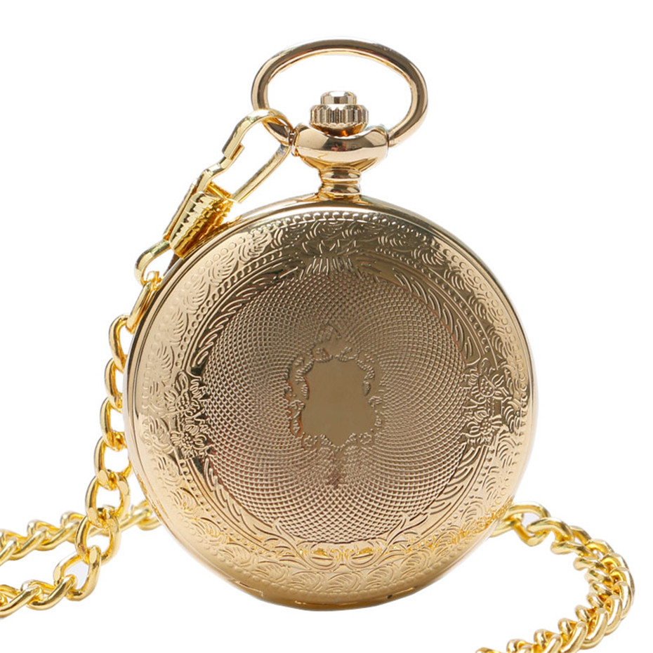 2019 Retro Golden Case Skeleton Vintage Black Roman Number Flower Dial Men Mechanical Pocket Watch With Chain For Luxury Gifts