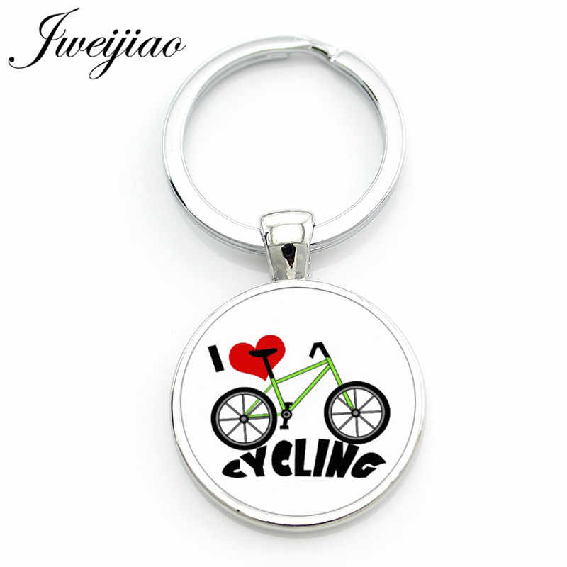 JWEIJIAO I Love My Bike keychain vintage bicycle bike Cycling sports lover key chain ring holder men women jewelry Custom SP426