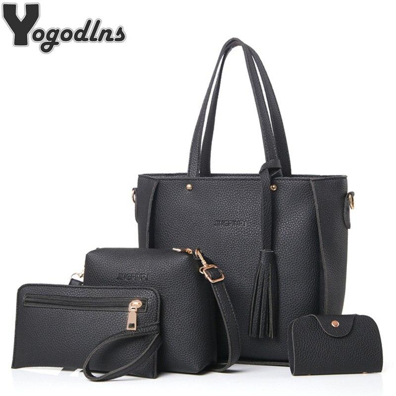 Bag Set for Women Top-Handle Big Capacity Female Tassel Handbag Fashion Shoulder Bag Purse Ladies PU Leather Crossbody Bag handbags in south africa