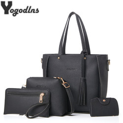 Saco das mulheres Set Top-Alça Grande Capacidade de Borla Feminino Bolsa de Ombro Da Forma Saco Bolsa Das Senhoras de Couro PU Crossbody Bag