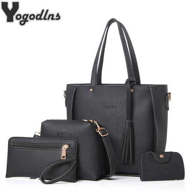 8b878c266 Women Bag Set Top-Handle Big Capacity Female Tassel Handbag Fashion  Shoulder Bag Purse Ladies PU Leather Crossbody Bag