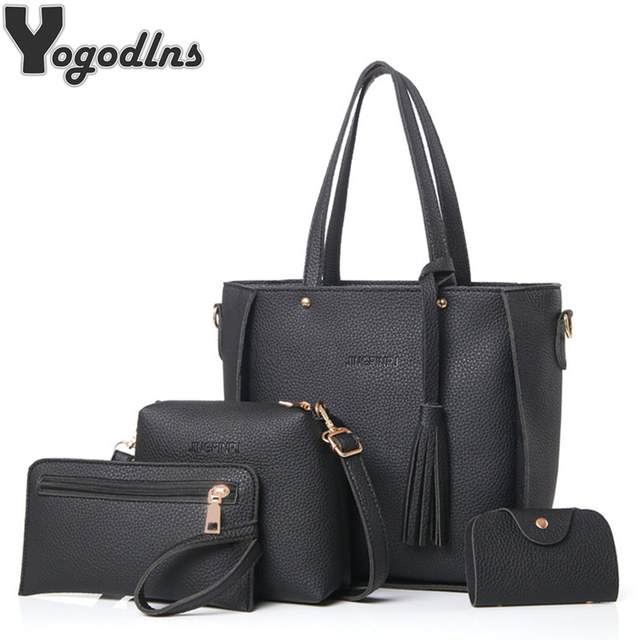 9eef8e304a94 Women Bag Set Top-Handle Big Capacity Female Tassel Handbag Fashion  Shoulder Bag Purse Ladies PU Leather Crossbody Bag