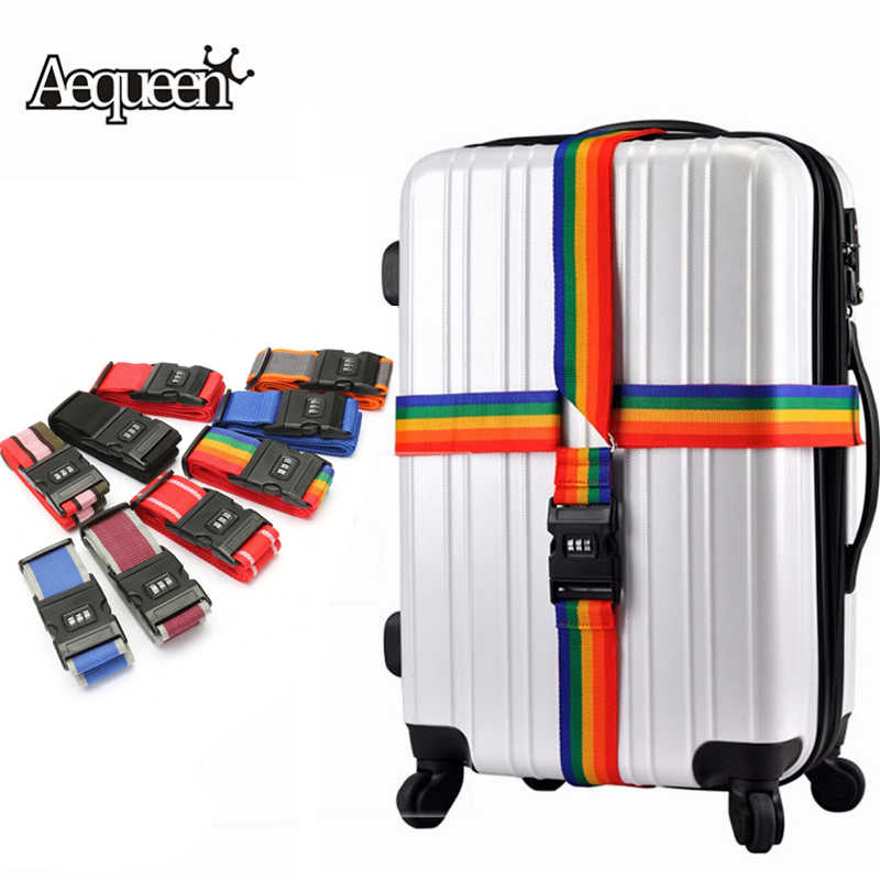 AEQUEEN Password Lock Adjustable Luggage Strap Cross Belt Protective Nylon Travel Luggage Suitcase Straps Baggage Rainbow Belt
