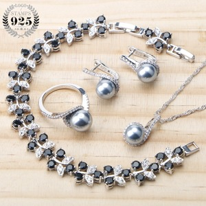 Image 1 - Balck Pearl 925 Sterling Silver Bridal Jewelry Sets Pearls Earrings For Women Wedding Jewelry Bracelet Ring Pendant Necklace Set