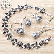 Balck perla Plata de Ley 925 conjuntos de joyas de novia pendientes de perlas para mujer joyería de boda pulsera anillo colgante collar conjunto
