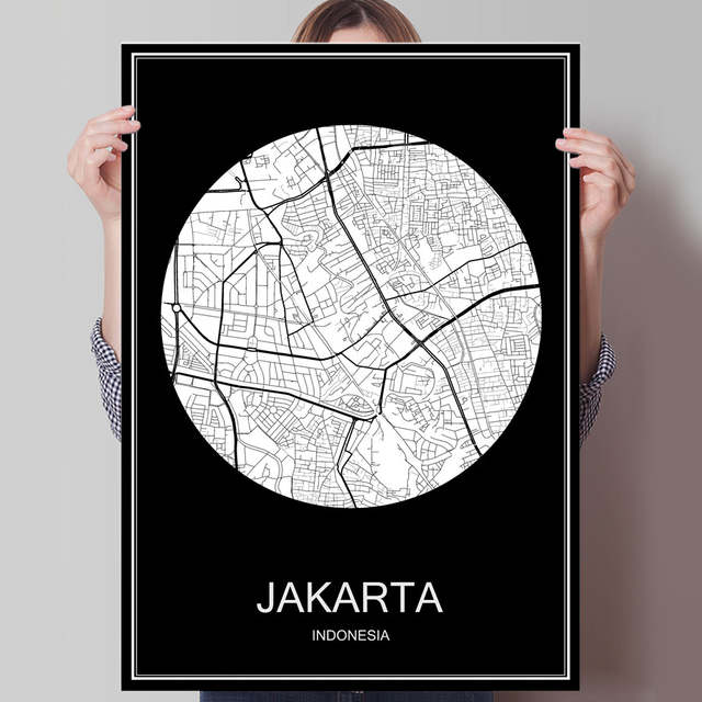 online shop abstract world city map jakarta indonesia print poster