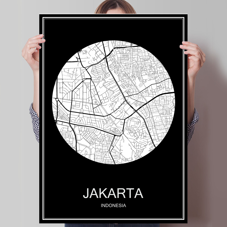 Abstract World City Map JAKARTA Indonesia Print Poster On Paper Or Canvas Wall Sticker Bar Cafe Living Room Home Decor