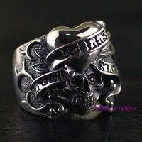 Тайландский импорт 925 стерлингового серебра подлинный оригинальный череп кольцо