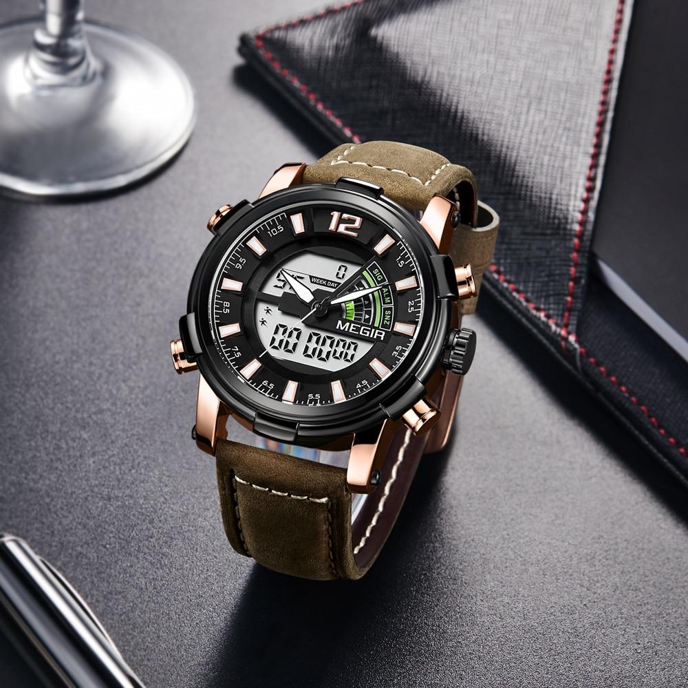 New MEGIR 2018 Mens Watches Top Brand Men Fashion Sport Watch Male Waterproof Quartz Digital Led Clock Mens Military Wristwatch Men Brands