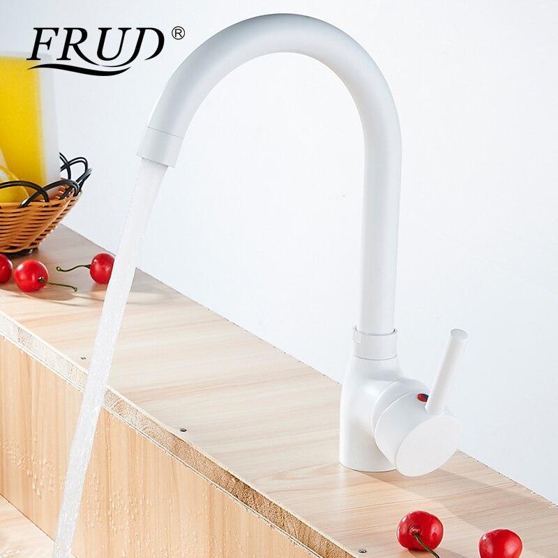 Frud Flexible robinet de cuisine haut cuivre robinet de cuisine mitigeur cuivre robinet de cuisine robinet de bain blanc Y40092-2
