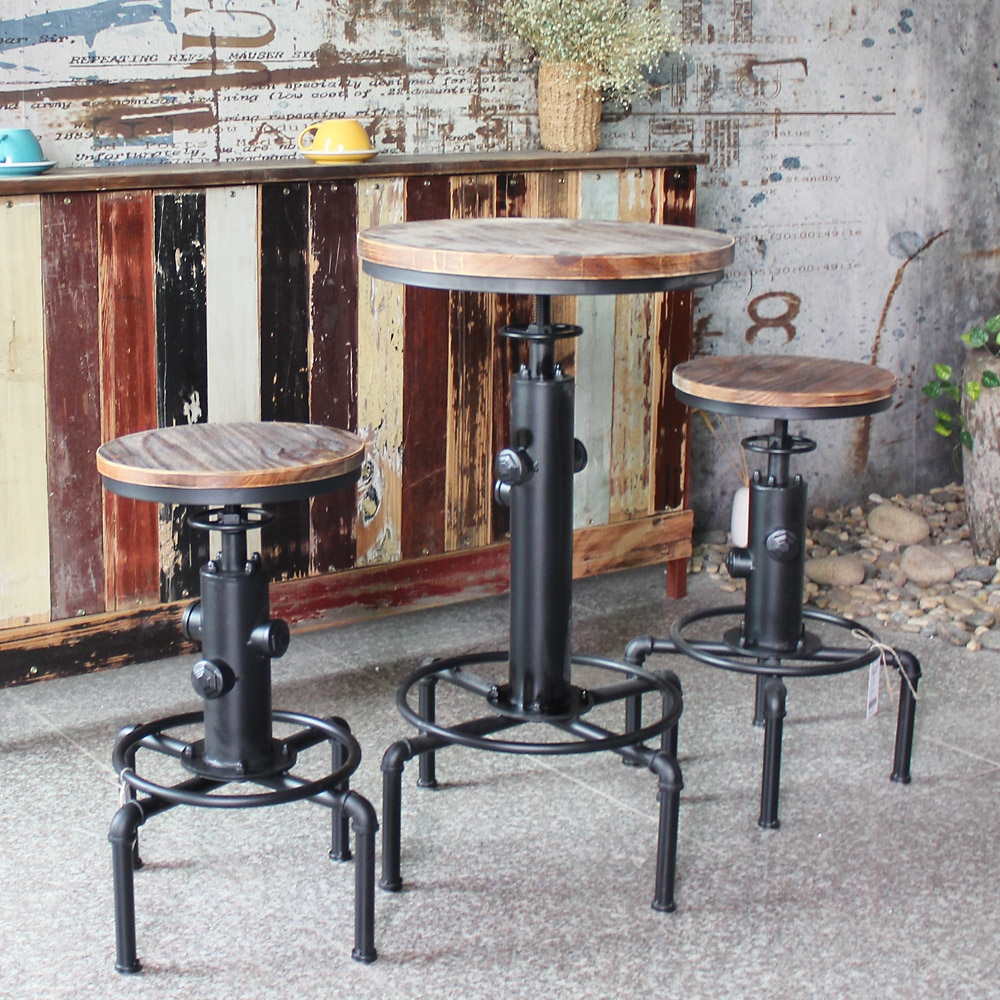 iKayaa Pinewood Top Round Pub Bar Table Height Adjustable Swivel Counter Bistro Table Industrial Pipe Style Kitchen Dining Table figurine