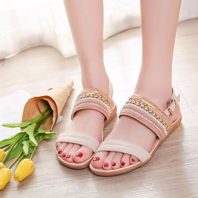 f717dfe1e63 Women Bohemia Slippers Flip Flops Flat Sandals Toe Beach Gladiator Ankle  Shoes  A35