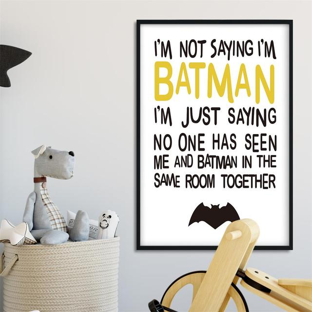 Wonderful Caroon Batman Quote Wall Art Funny Posters And Prints Minimalist Canvas  Painting Wall Pictures For Children