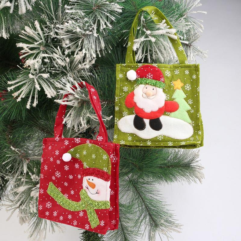 1pc christmas green santa red snowman decorative gift bag candy bags for candy stocking filler xmas tree decoration - Christmas Tree Bags
