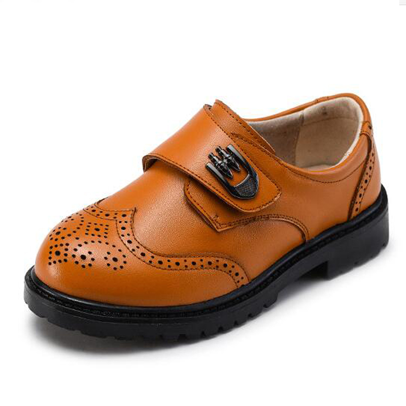 Boys Formal Shoes Genuine Leather Children Carved Brogue Flats Boy Prom Host Shoes Fashion Breathable Wedding Shoe For Baby Kids new fashion genuine leather children shoes boys girls casual brogue shoes baby breathable flats kids oxford shoes sneakers 03