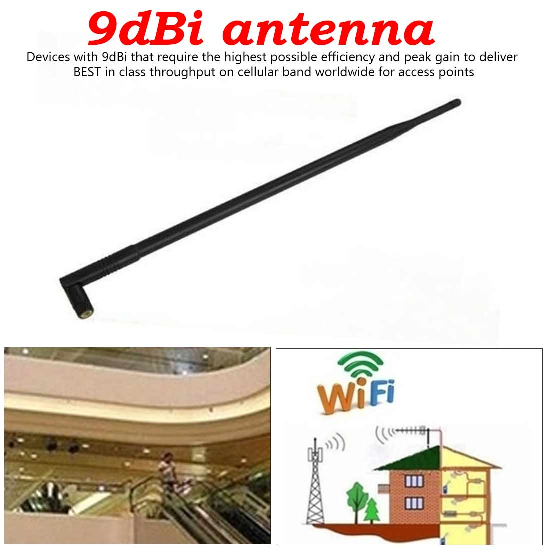 2.4GHz 9dBi Wireless High Quality  Folding Antenna Reverse SMA Connector For Most Wireless Device Wifi Router Booster