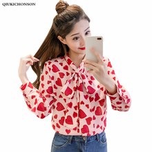 Spring Summer Long Sleeve Blouse Women Korean Fashion Elegant Bow Collar Kawaii Heart Print Chiffon Shirt Pink Ladies Tops