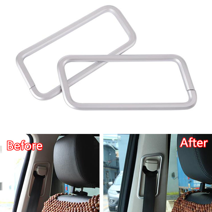 YAQUICKA 2Pcs/set Car Front Seat Safety Belt Frame Trim Sticker For Land Rover Discovery 4 2010-16 Car-covers Auto Accessories for land rover discovery 4 lr4 accessories abs dark wood grain center console ac outlet cover trim sticker for lhd 2pcs set