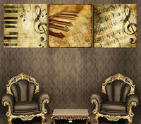 Moderno arte de la pared decoración del hogar impreso pintura al óleo de fotos marco de lona de arte 3 Panel clásica Piano Music Notes T / 1228