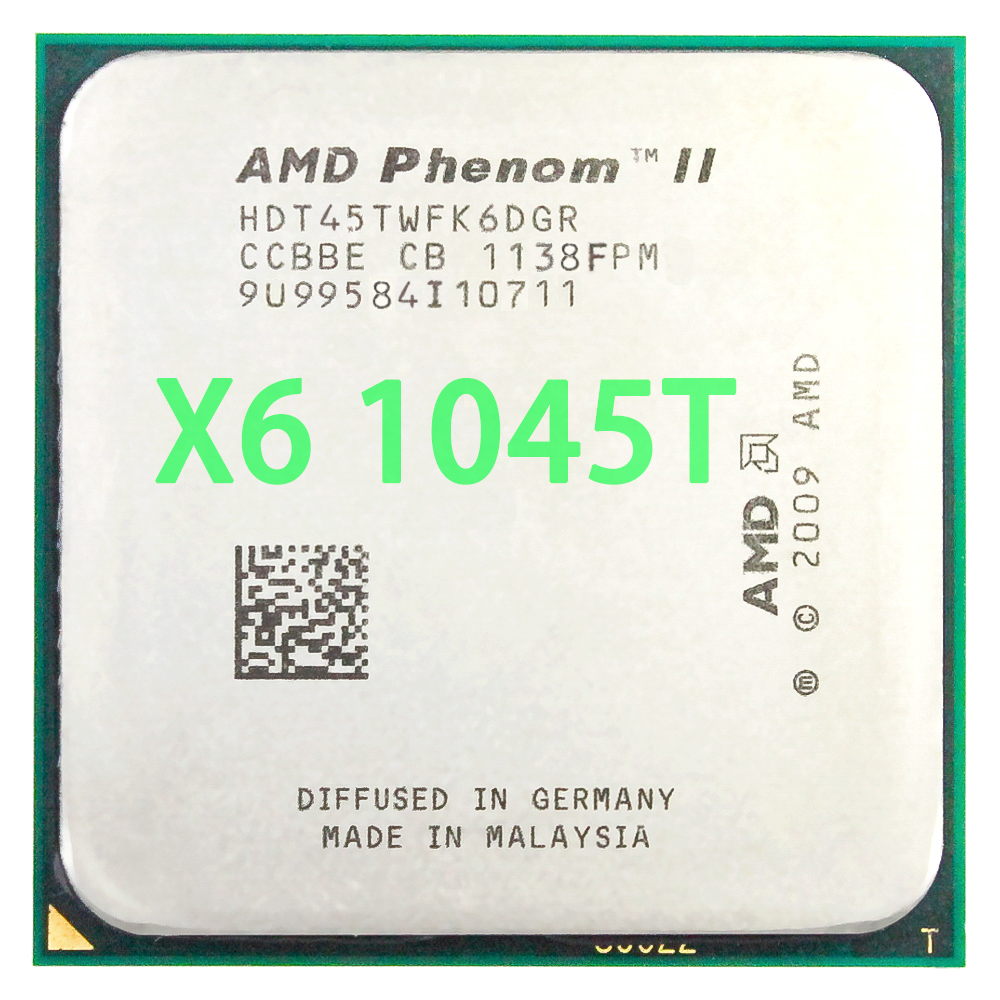 <font><b>AMD</b></font> Phenom II X6 1045T <font><b>CPU</b></font> Processor Six-Core 2.7Ghz/ 6M /95W Socket <font><b>AM3</b></font> AM2+ 938 pin image