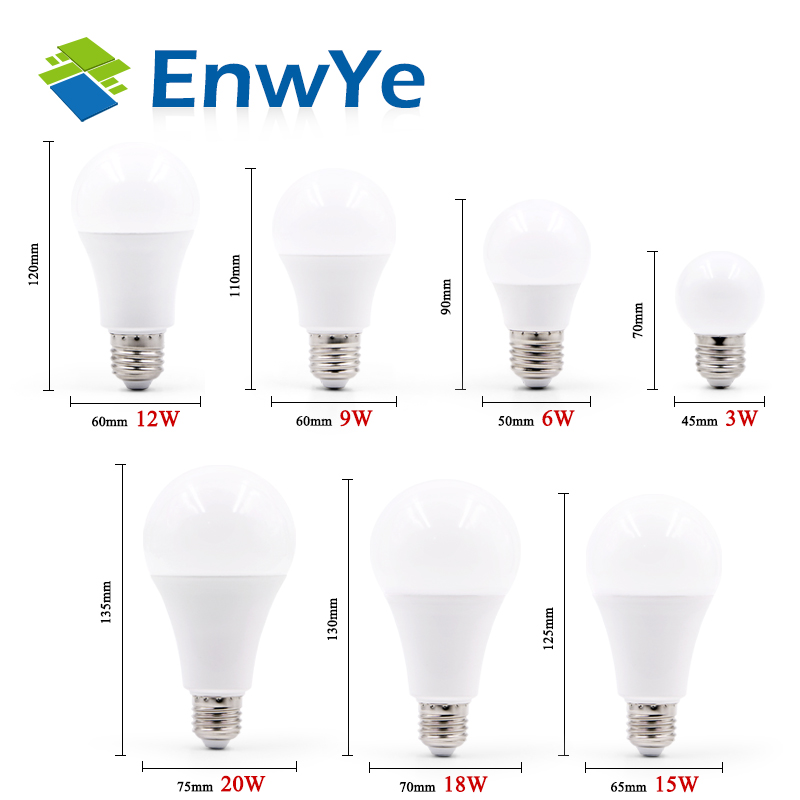 EnwYe LED E14 LED lamp E27 LED bulb AC 220V 230V 240V 20W 18W 15W 12W 9W 6W 3W Lampada LED Spotlight Table lamp Lamps light