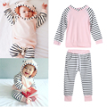 Baby Clothing Set Kids Baby Boy Girl Autumn Long Sleeve Clothes Striped Hooded Top Pants Outfit Set 3 to 18 Months