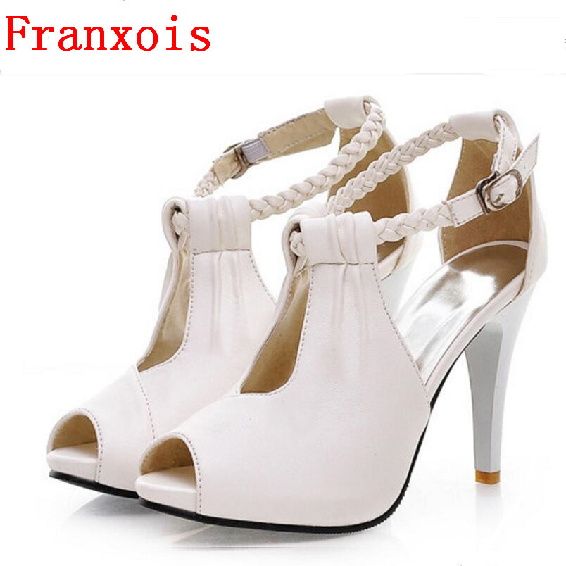 Franxois summer new high-heeled shoes fish head waterproof sandals hollow buckle OL women's high heels Large size women shoes 2015 summer women s high heeled shoes fish head shoes korea princess waterproof fine with sexy high heeled sandals