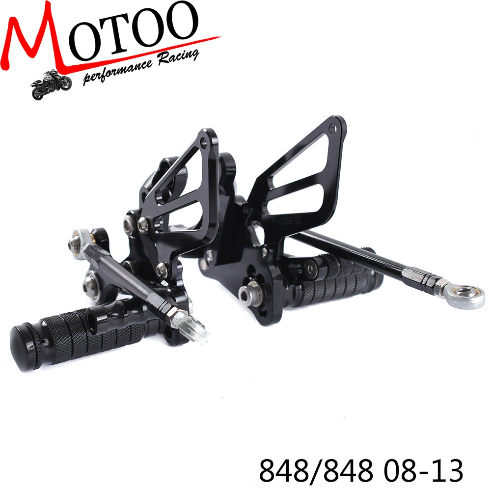 CNC Aluminum Adjustable Motorcycle Rearsets Rear Set Foot Pegs Pedal Footrest For DUCATI 848 848 EV0 2008 - 2013