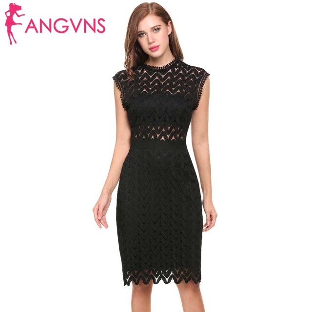 1e4be37594 ANGVNS New Women Vintage Styles O-Neck Sleeveless Zigzag Hollow Out Lace  Backless Tunic Sheath Cocktail Party Dress with Lining