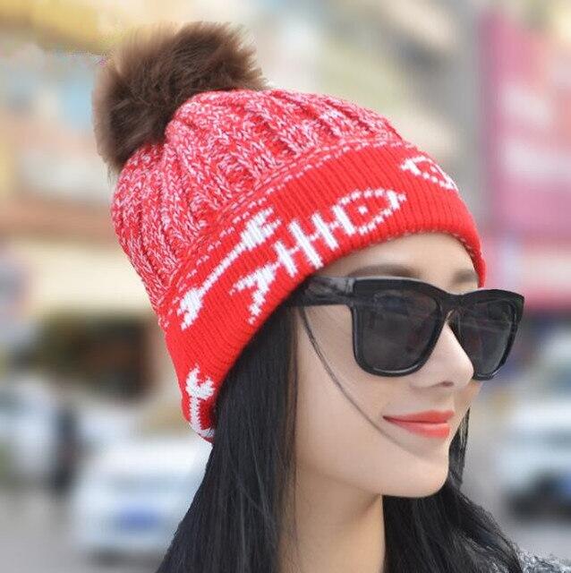 Unisexe/Femmes de Printemps Chapeaux D\u0027hiver Bonnets Bonnet Tricoté Crochet  Chapeau De Fourrure