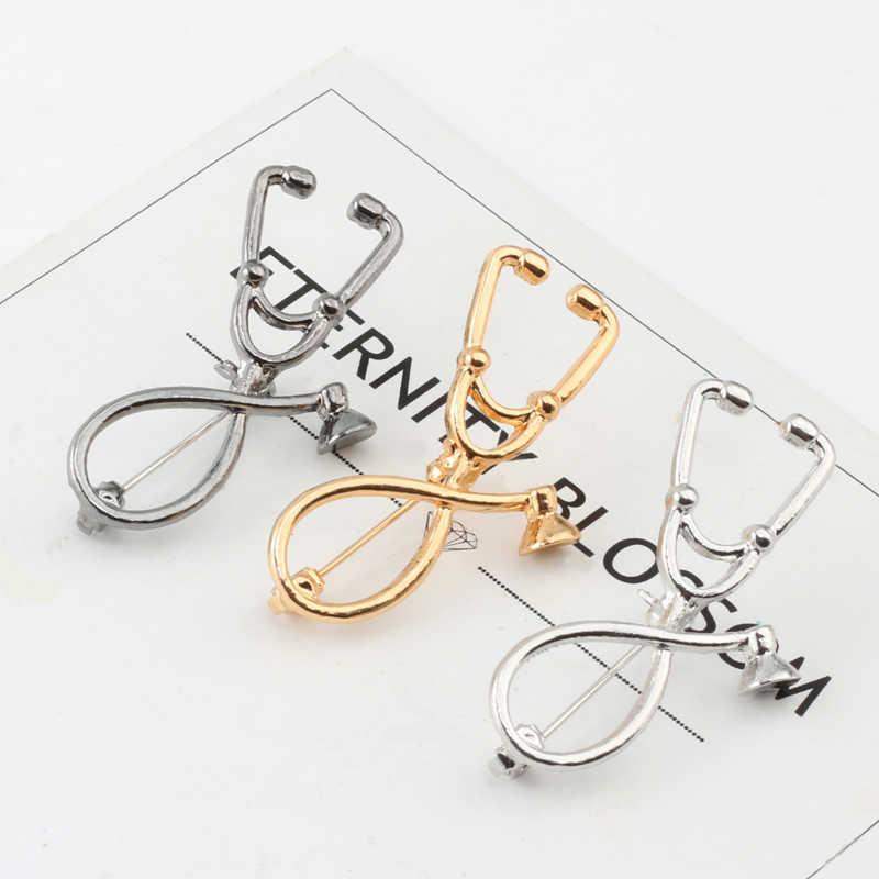 Pesona Wanita Enamel Logam Pria Bros Mawar Emas Perak Stetoskop Gigi Sendok Dasi Lencana Kerah Pin Ular Logo Dokter perhiasan
