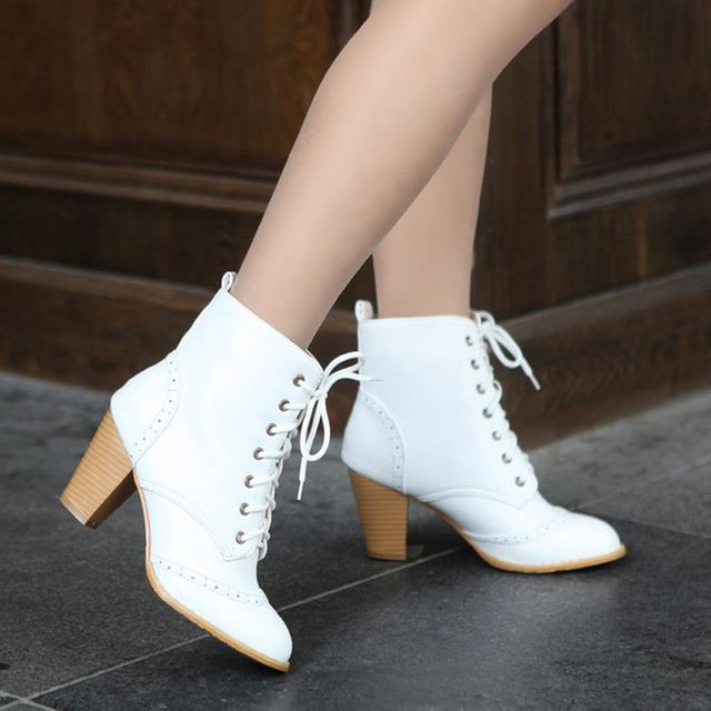 Women Square High Heel Half Short Boots Autumn Winter Botas Rivets Motorcycle Buckle Footwear Warm Boot Shoes Size 34-48
