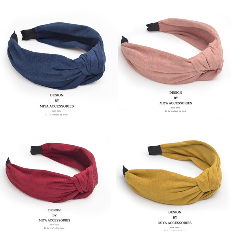 Korean Soft Suede Knotted Hairband Solid Color Headband for Women Lady Spring Summer Handmade Bowknot Hair Hoop Hair Accessories