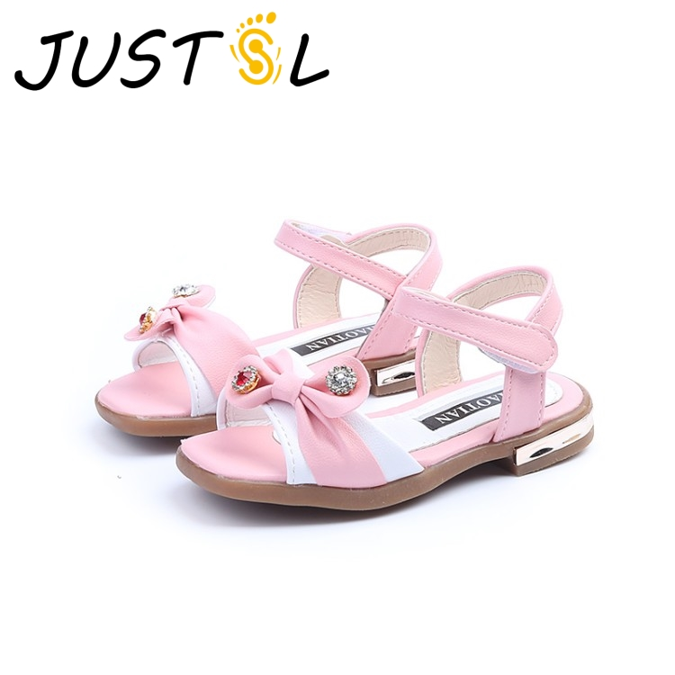 2018 New Summer Childrens Fashion Comfortable Sandals Shoes Gilr Bow Princess Lovely Shoes Student Casual Sandals ...