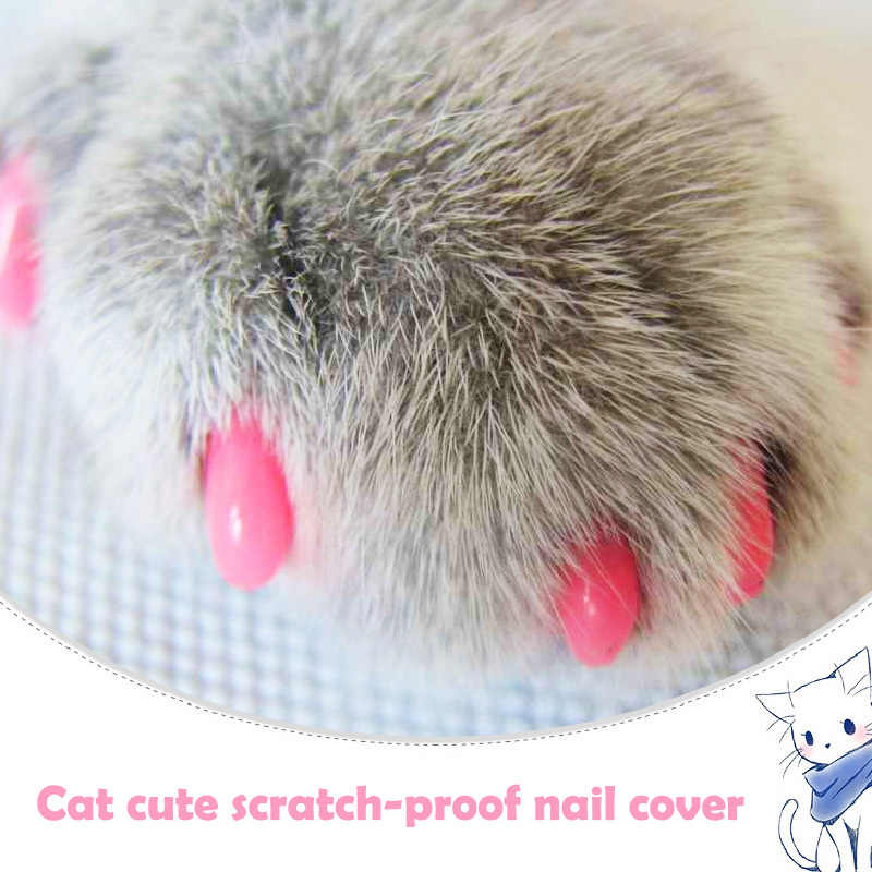20pcs Cat Nail Cover with Free Glue and Applictor Silicone Soft Cat Nail Caps Cat Paw Claw Pet Nail Protector Pet Supplies