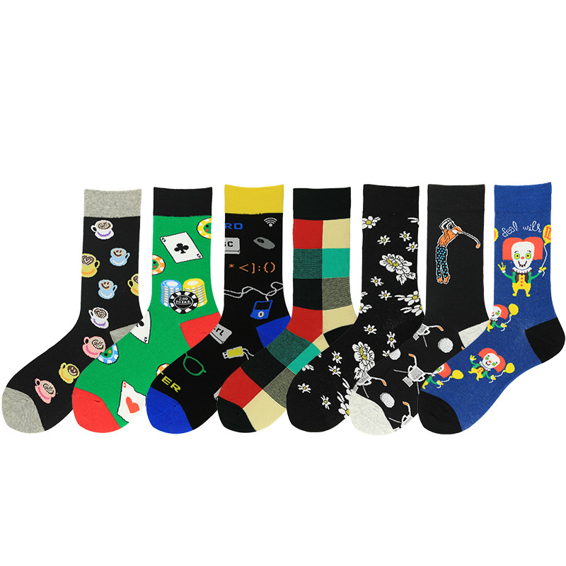 Newest Colorful Men's Combed Cotton Crew Socks Clown Playing Cards Pattern Casual Dress Socks Novelty Happy Skateboard Socks