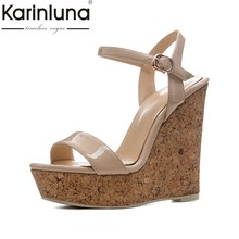 KarinLuna new size 34-41 sexy platfrom party shoes woman brand wedges high  heels ankle strap gladiator summer sandals shoes 81ada66cd57c