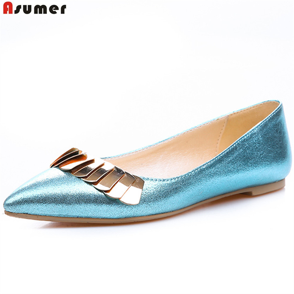 все цены на ASUMER blue black silvery pointed toe casual ladies single shoes shallow spring autumn shoes fashion women flats онлайн